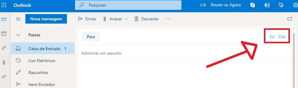 CC e CCO no Hotmail